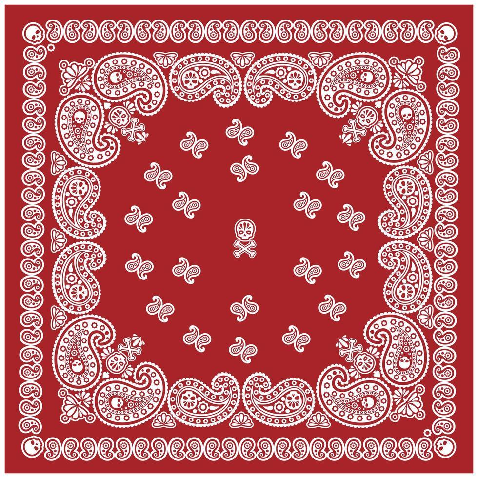 rotes, weißes Bandana-Muster mit Schädel und Paisley vektor