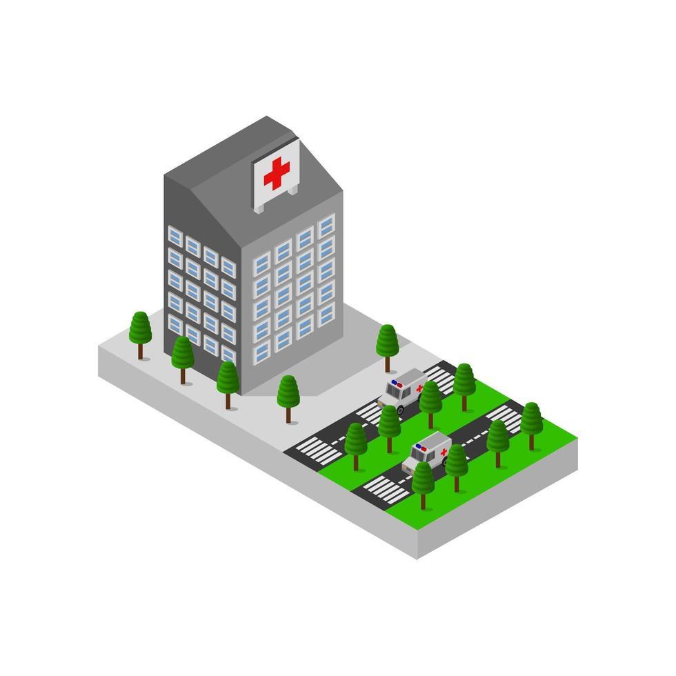 Design des isometrischen Krankenhausgebäudes vektor