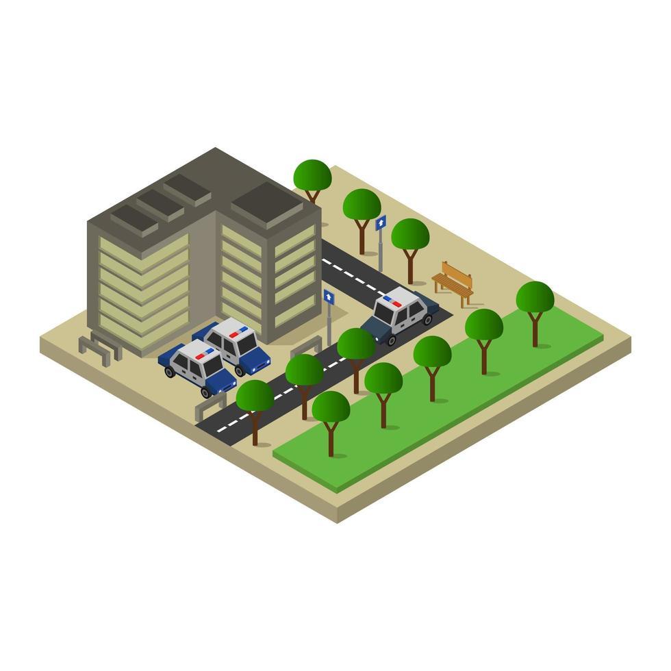 Design der isometrischen Polizeistation vektor