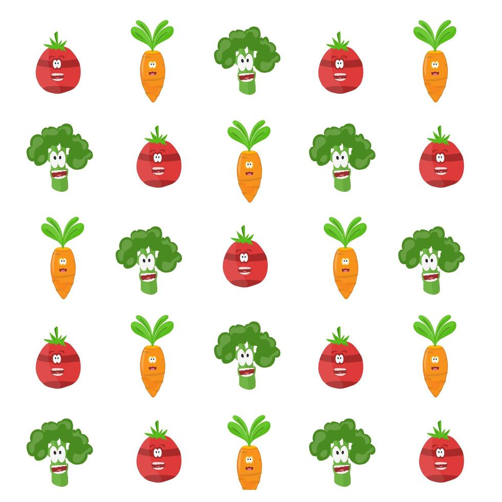 Gemüsecharakter-Karikaturmuster vektor