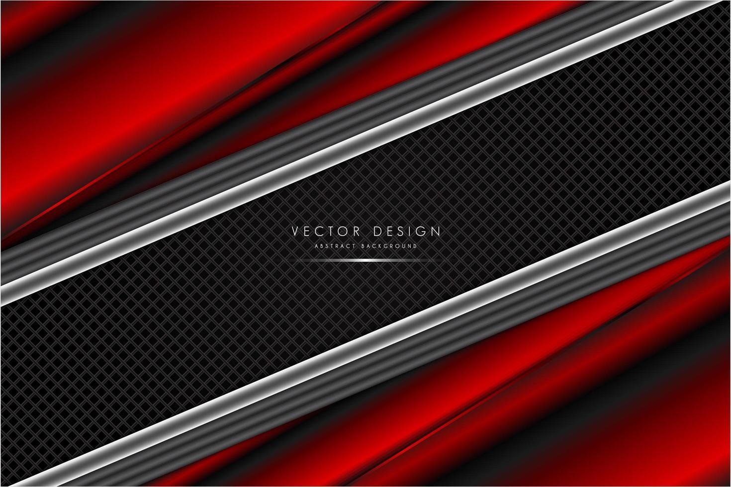 roter und silberner metallischer Hintergrund mit Kohlefaser vektor