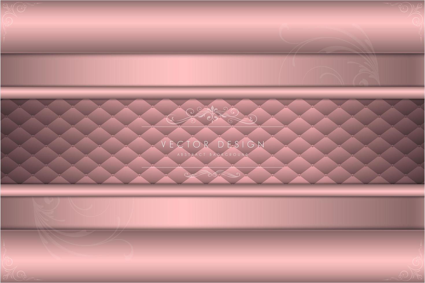 Luxus rosa Metall mit Polsterhintergrund vektor