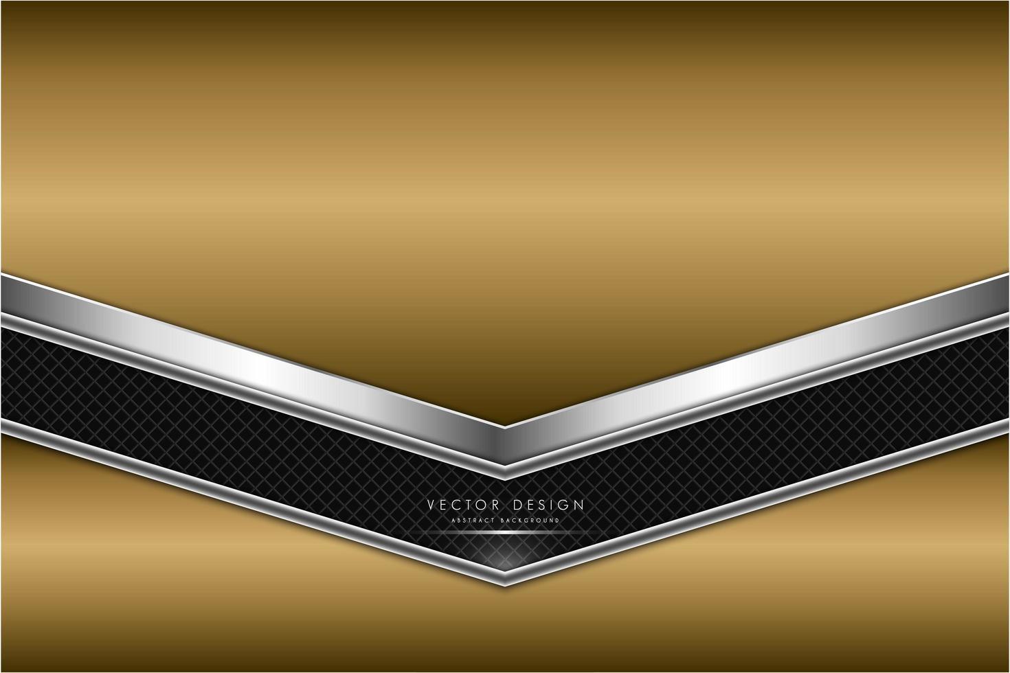 Gold- und Silbermetallhintergrund mit Kohlefaser. vektor