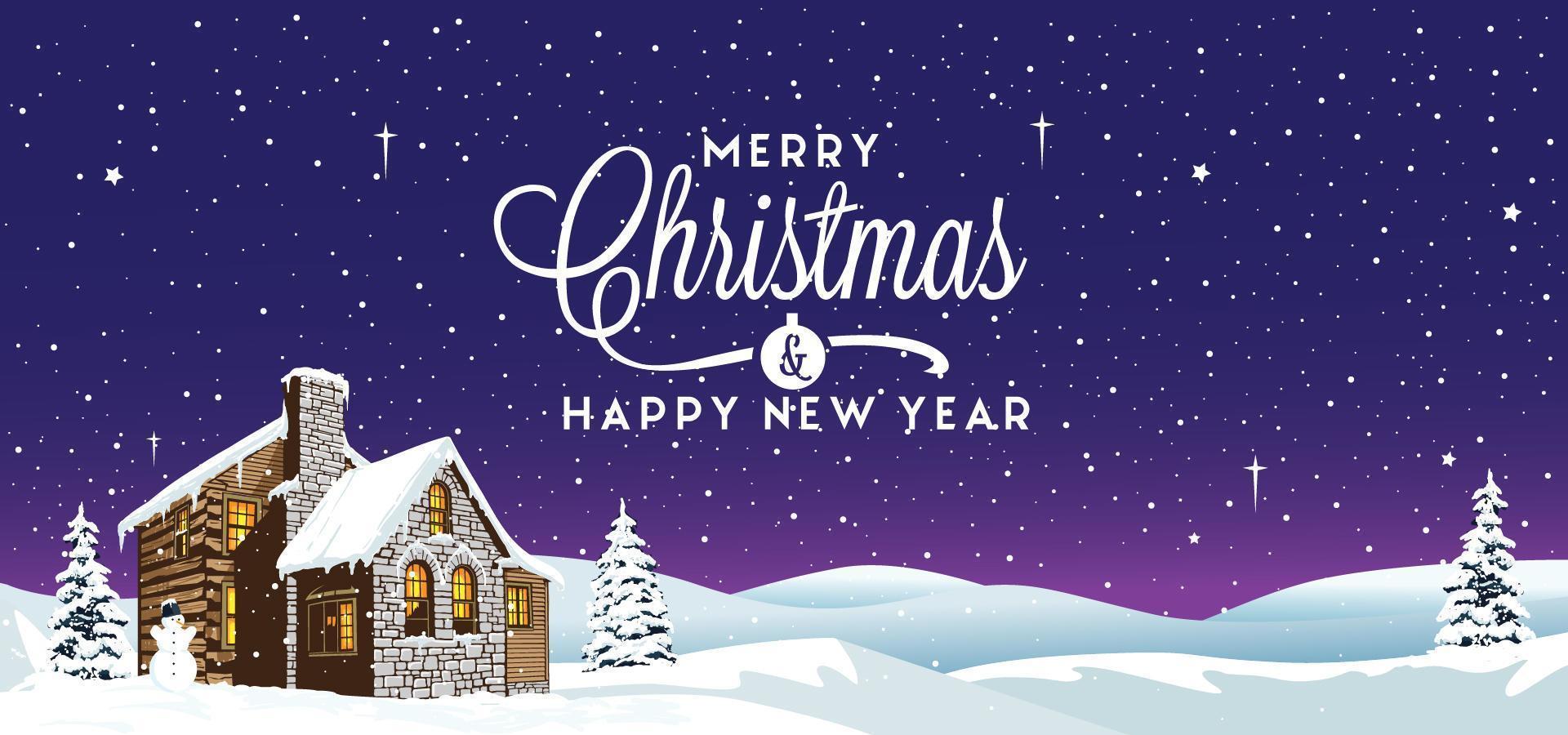 Weihnachtswinterlandschaft mit Haus vektor