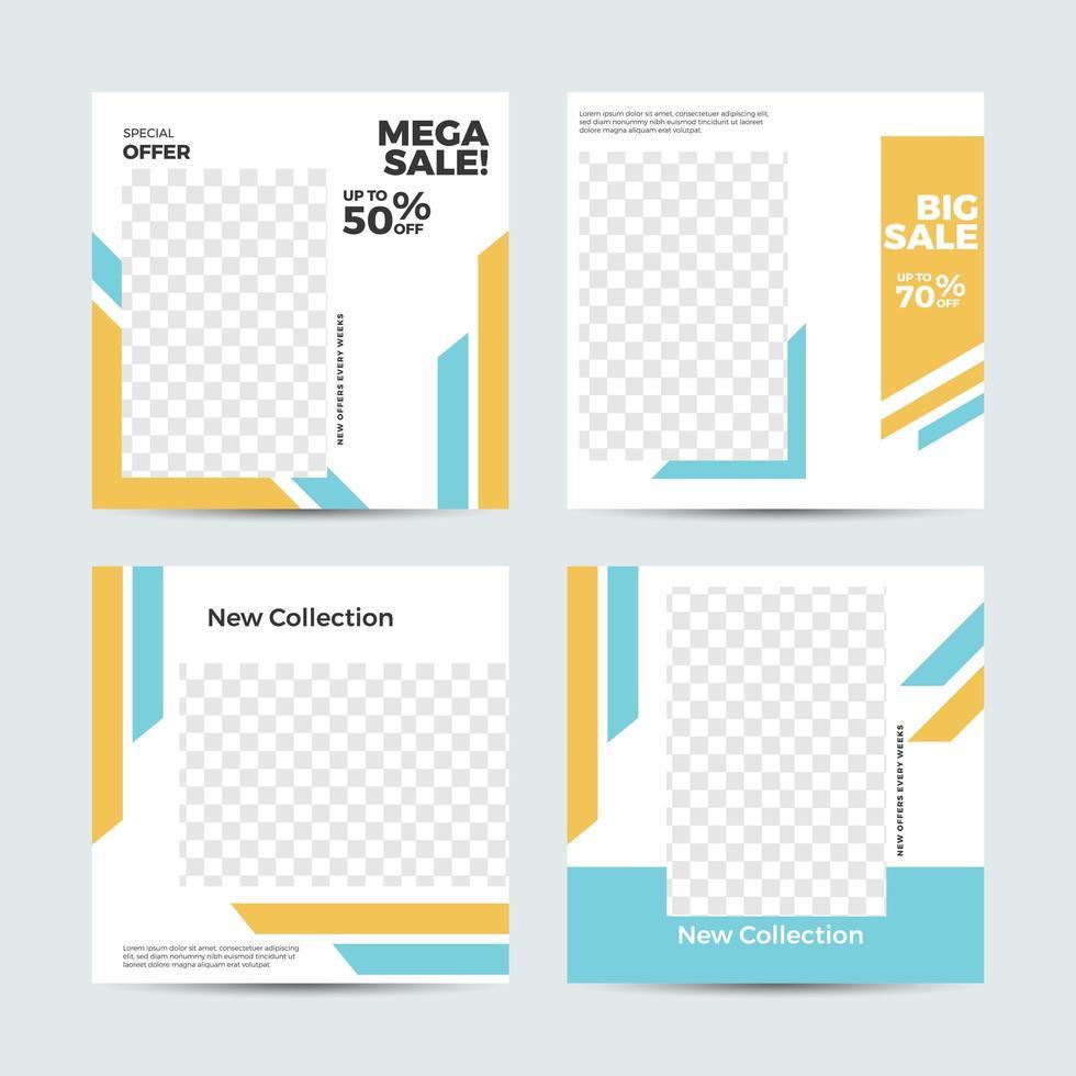abstrakter Verkauf Social Media Post Set vektor