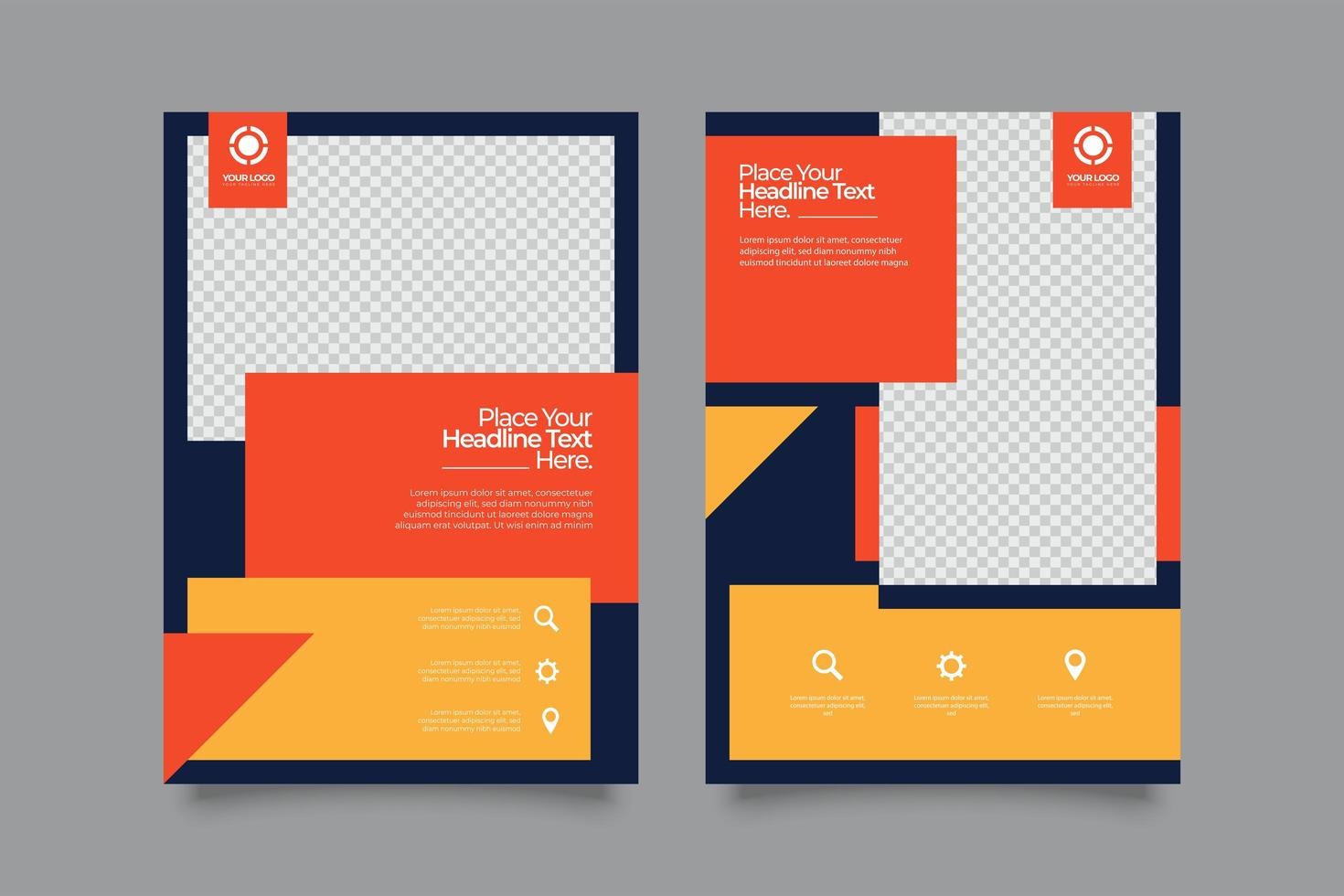 Broschürenvorlagen für Unternehmen mit drei Farben vektor