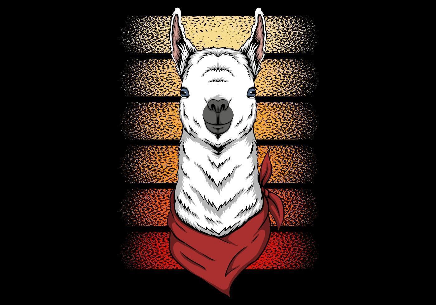 Lama trägt Bandana Retro Design vektor