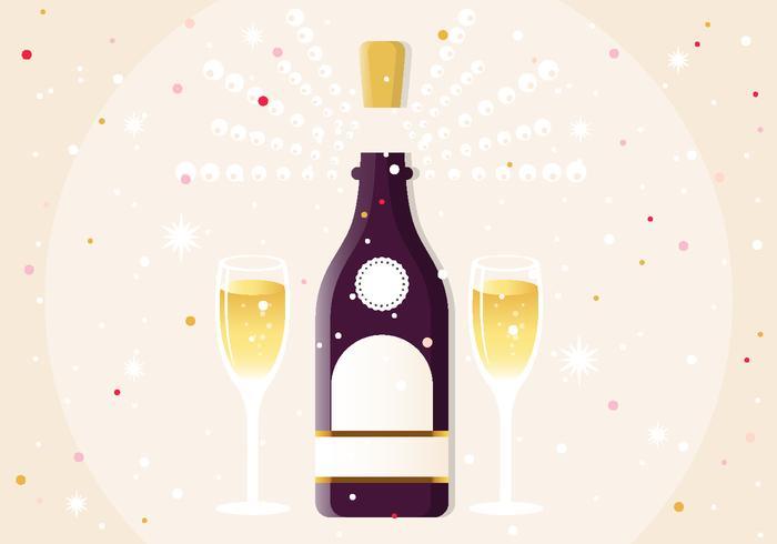 Nyår Champagne Vector Illustration