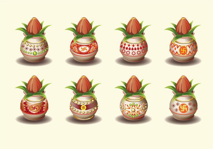 Set Vektor-Illustration von Kalash mit Kokosnuss und Mango Blatt vektor