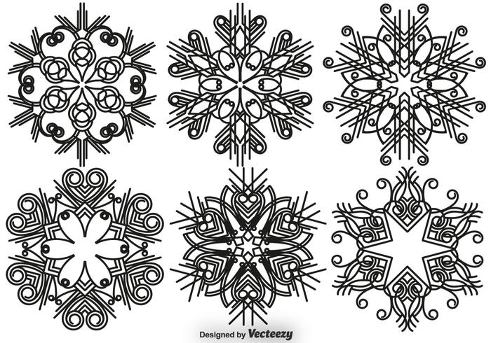 Elegant snöflingor vektor uppsättning