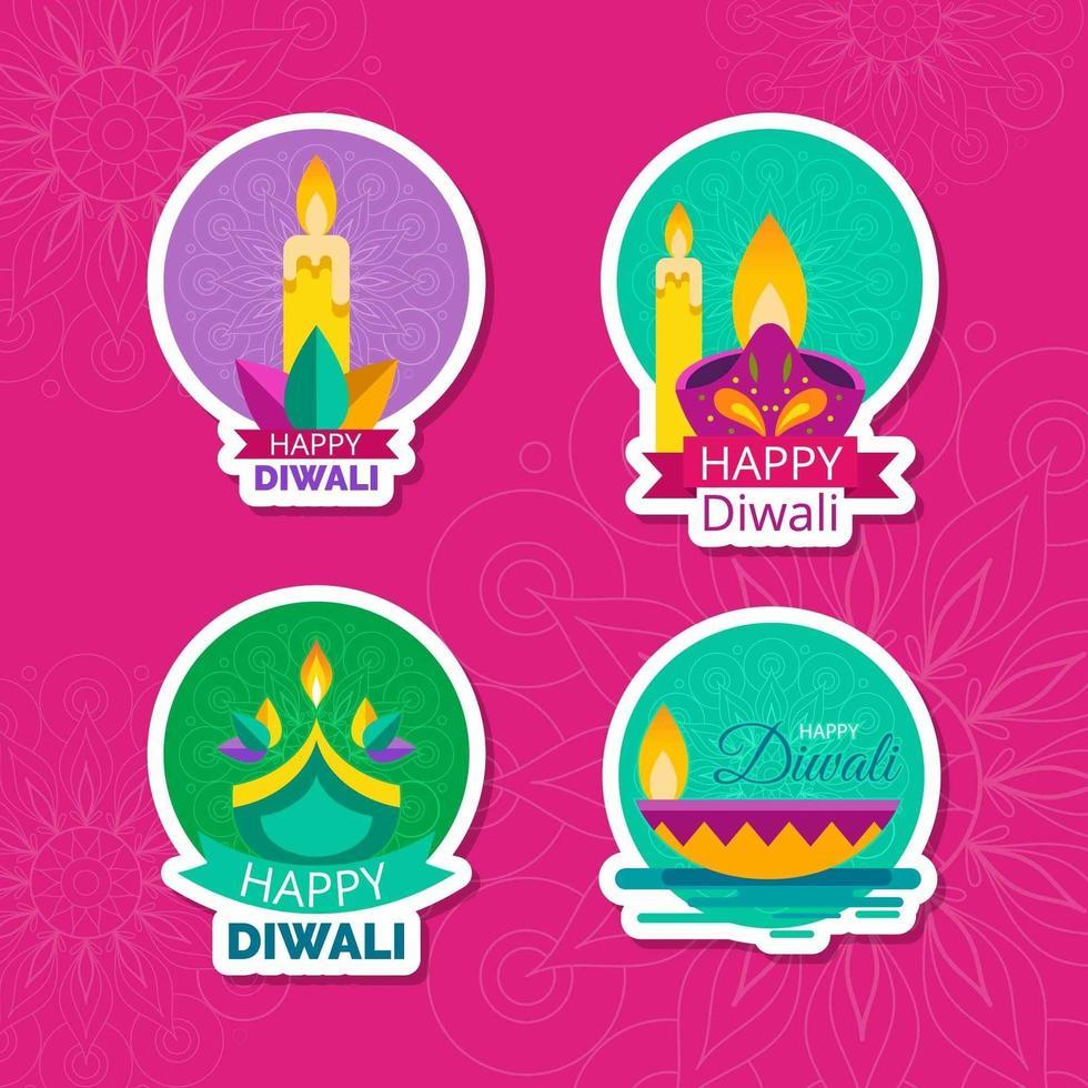 glücklicher Diwali Kerzenaufkleber vektor
