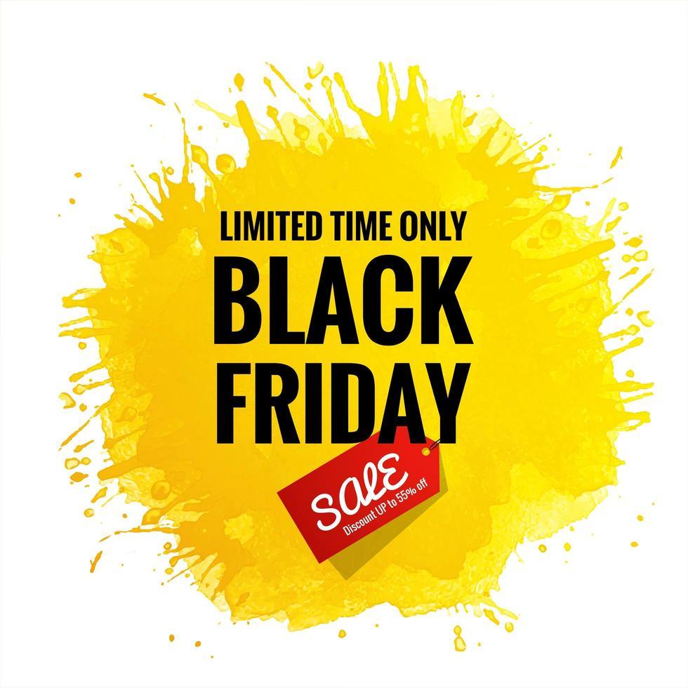 schwarzer Freitag Verkaufskarte gelber Spritzhintergrund vektor