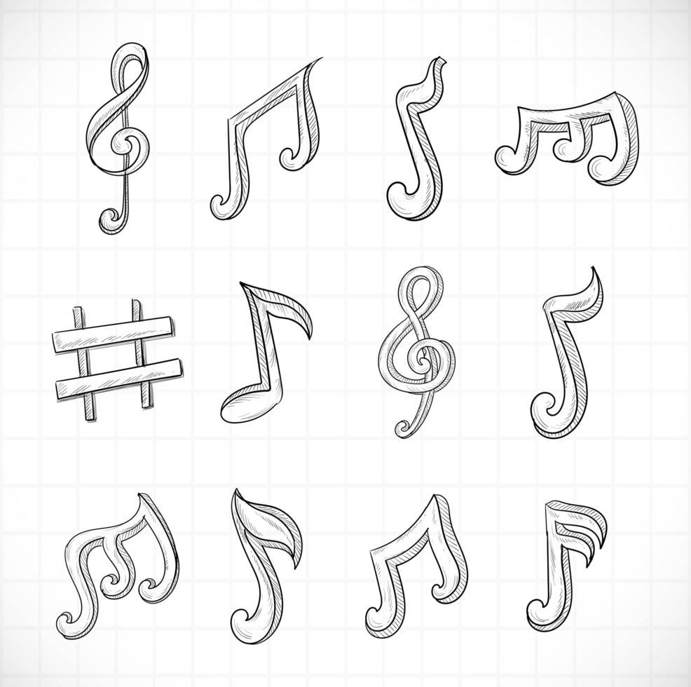 handgezeichnete Musiknoten Skizze Set Design vektor