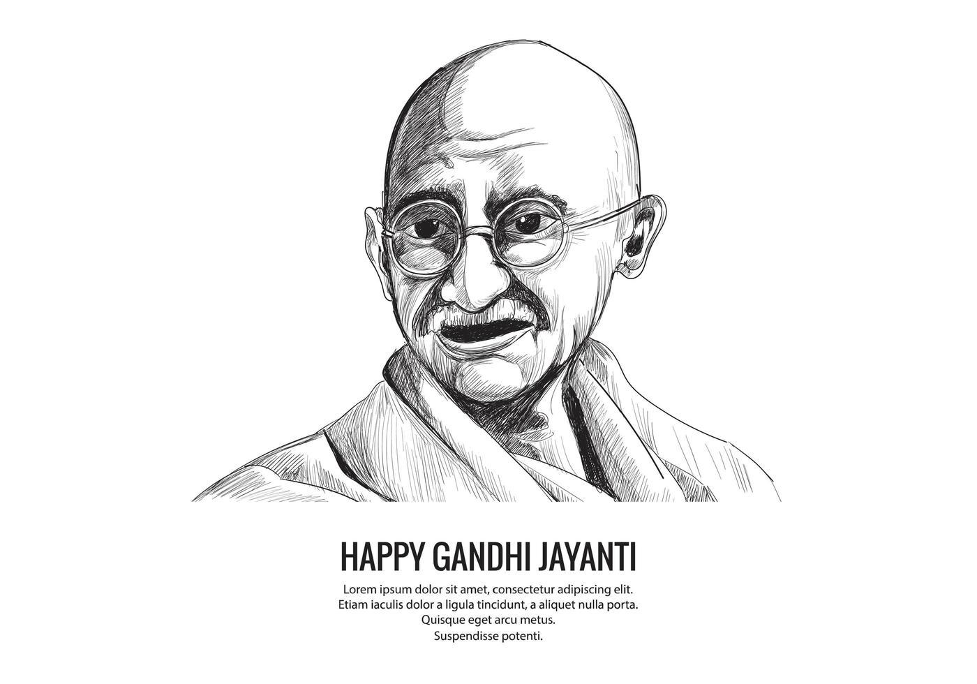 Hand gezeichnete Mahatma Gandhi Skizze für Gandhi Jayanti Hintergrund vektor