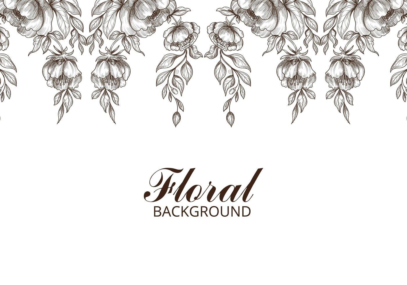 handgezeichneter dekorativer Blumenskizzenhintergrund vektor