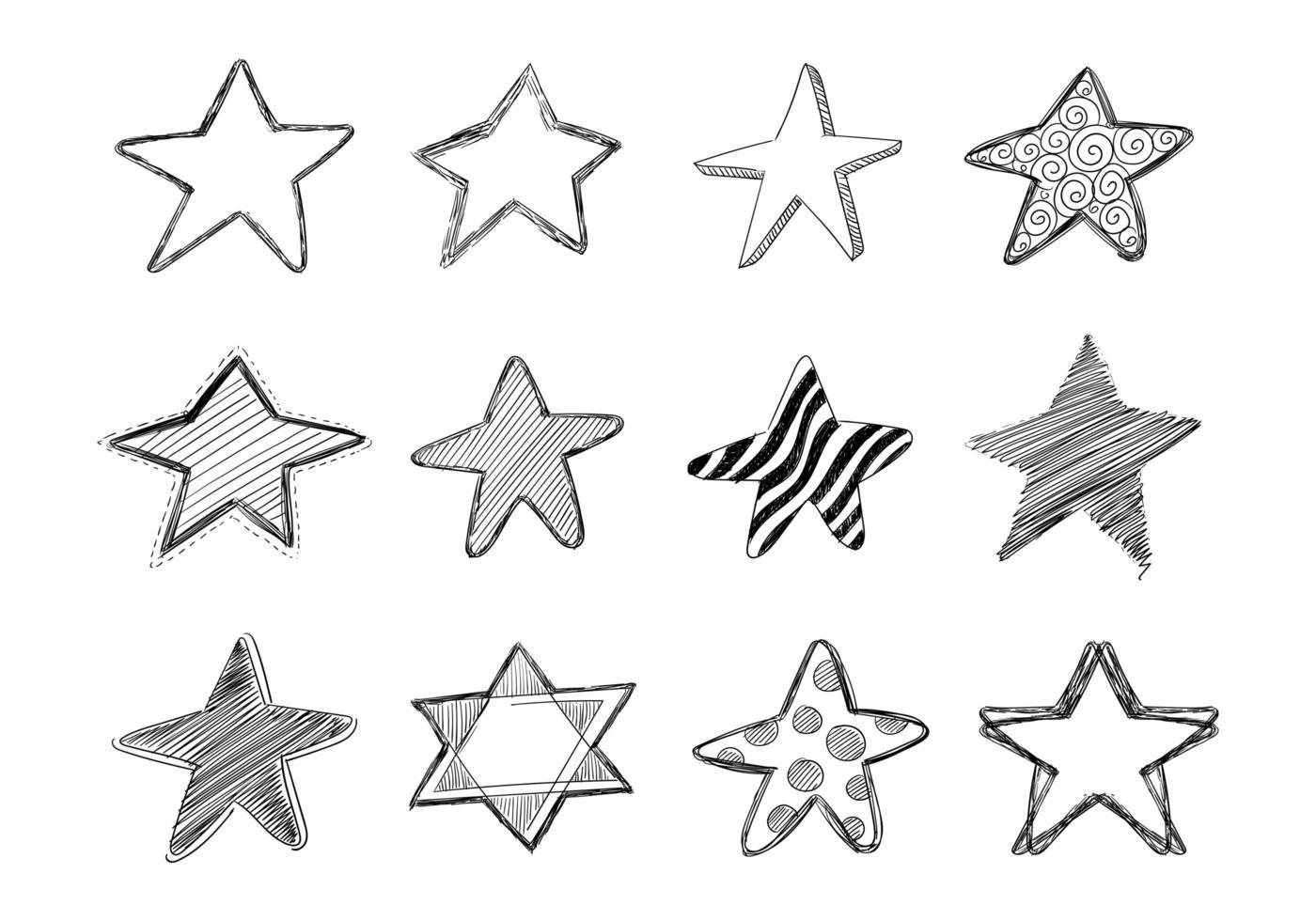 Hand gezeichnete Skizze Gekritzel Stern Sammlung Design vektor