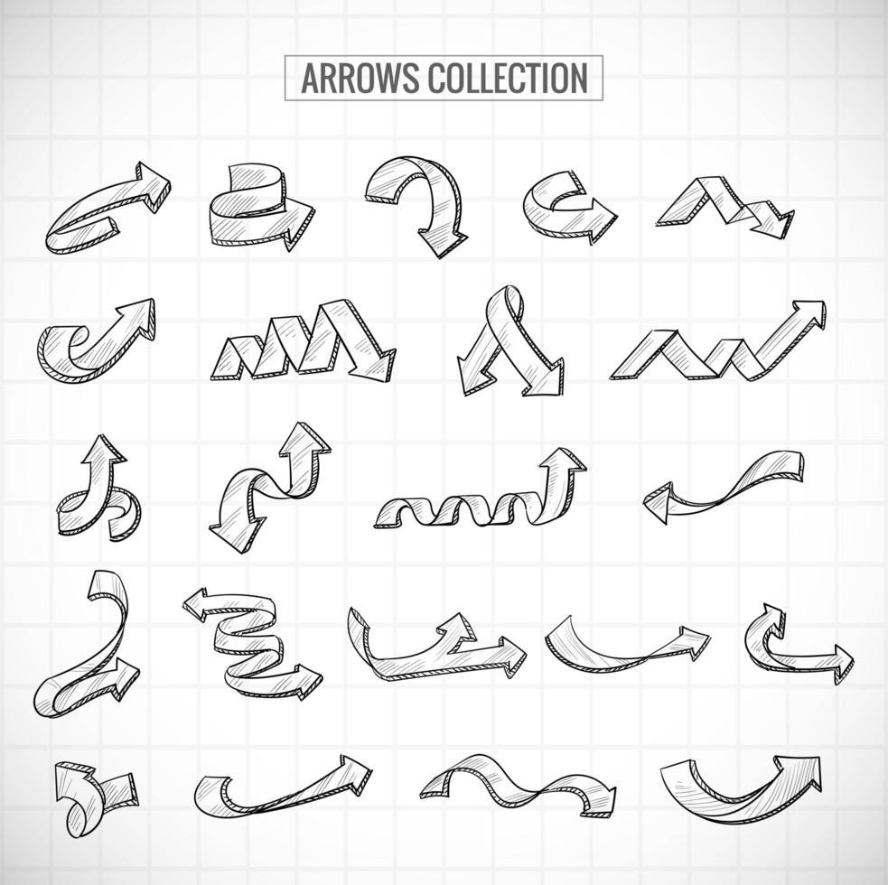moderne stilvolle Hand zeichnen Skizze Pfeile gesetzt vektor