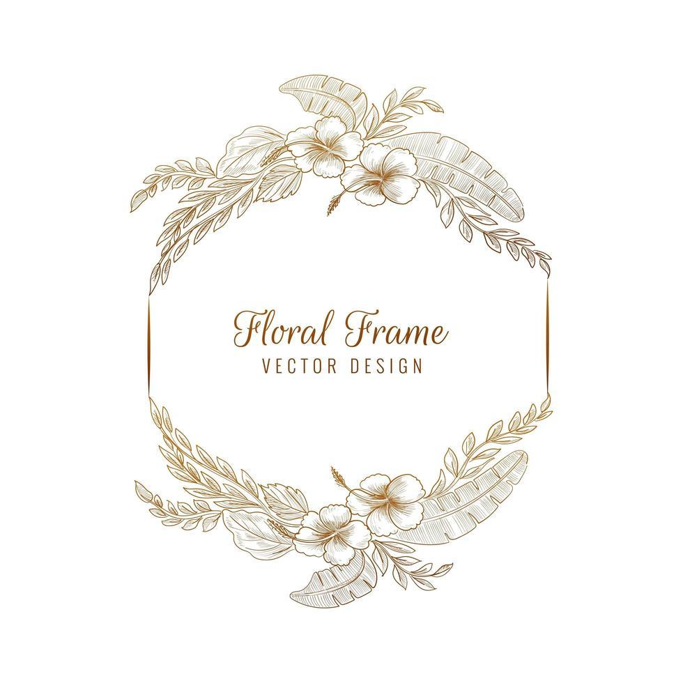 eleganter kreisförmiger Hochzeitsblumenrahmenhintergrund vektor