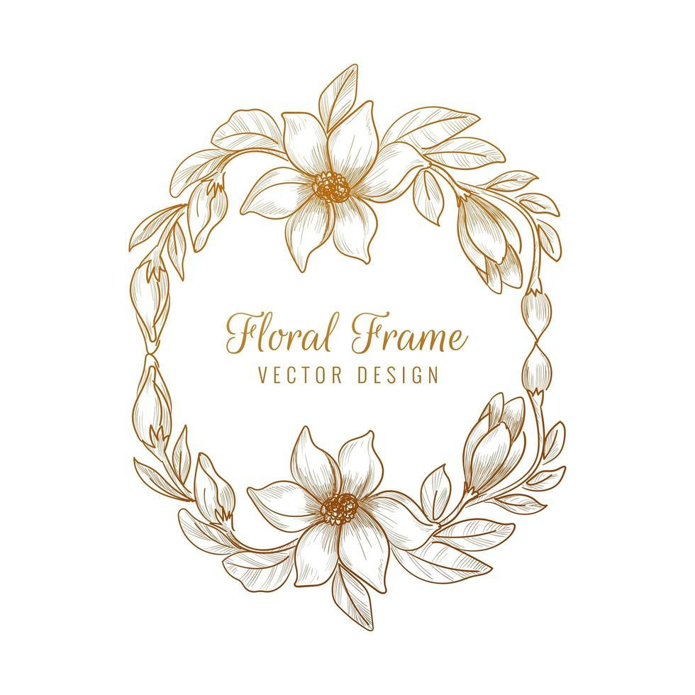 dekorativer dekorativer Blumenrahmenentwurf vektor