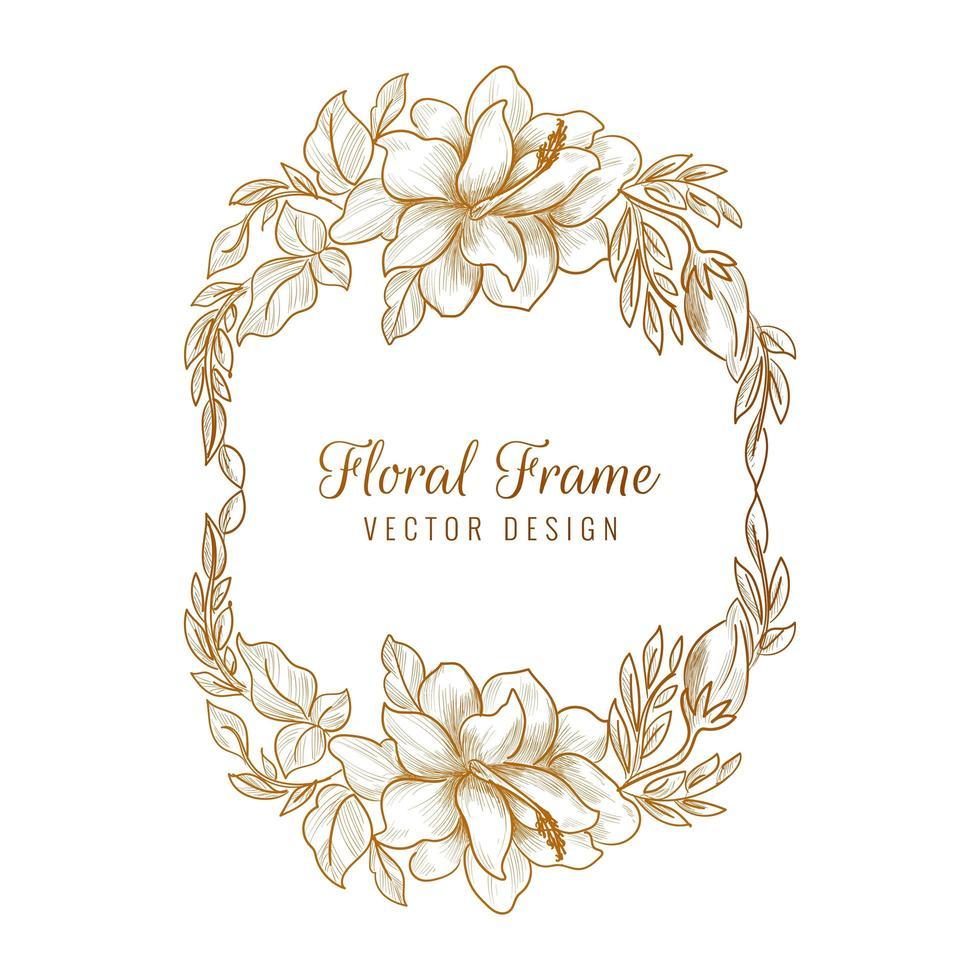 dekorativer goldener dekorativer Blumenrahmenhintergrund vektor