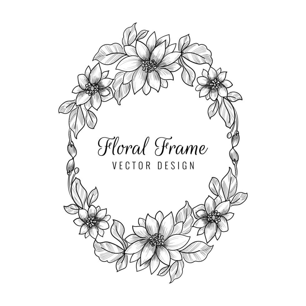 dekorativer Hochzeitsblumenrahmenhintergrund vektor