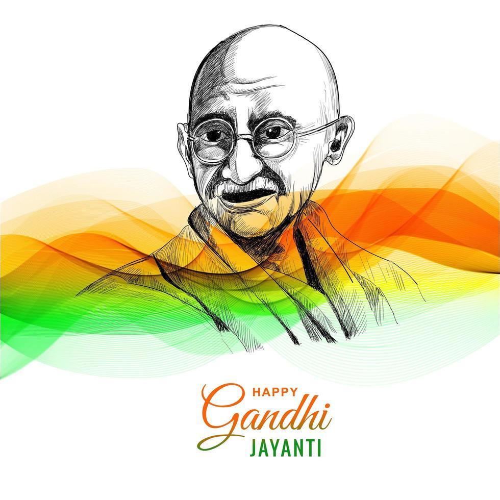 glücklicher Gandhi Jayanti für Wellenhintergrund vektor