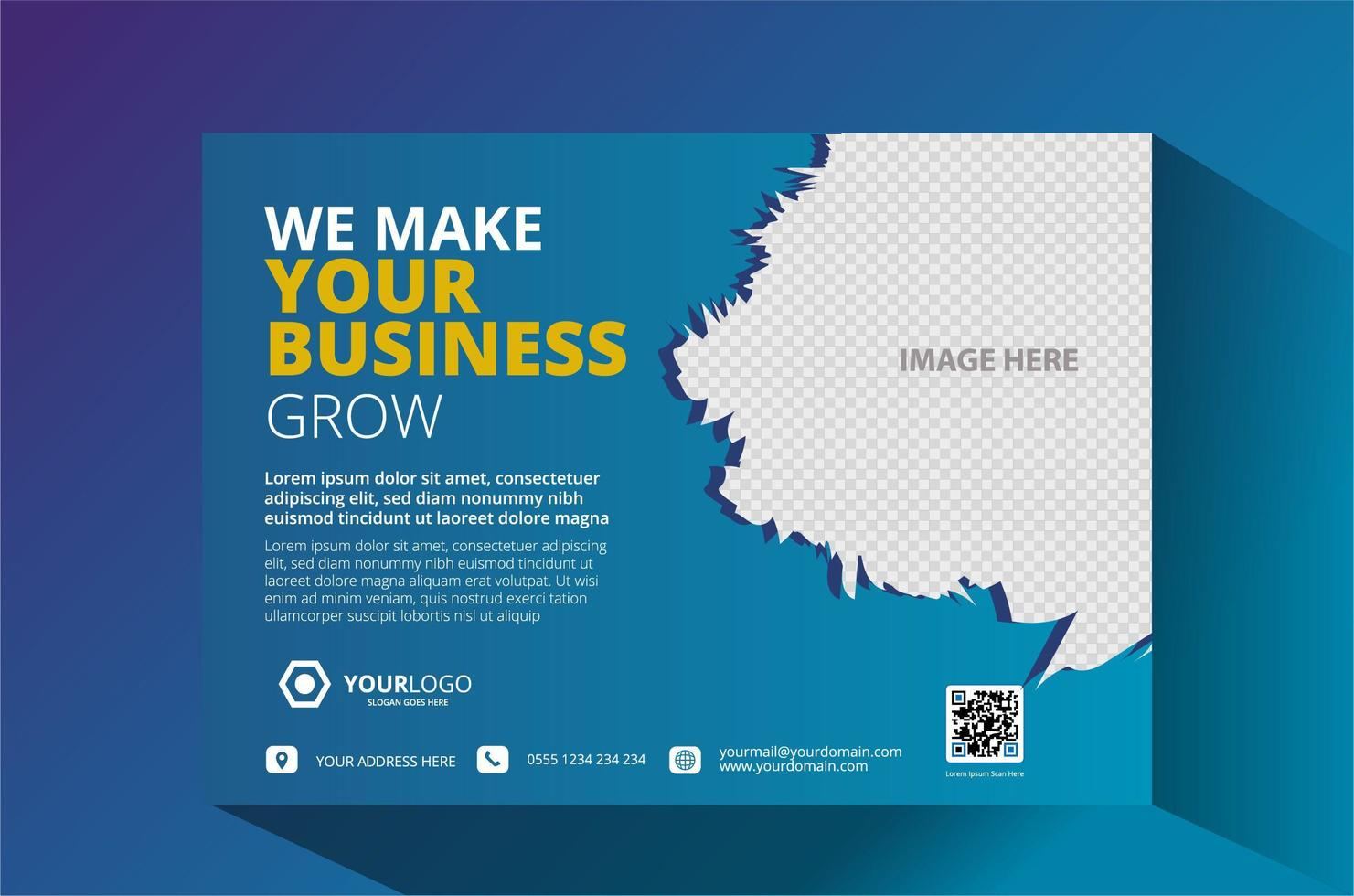 blaues Corporate Business Flyer Design. vektor