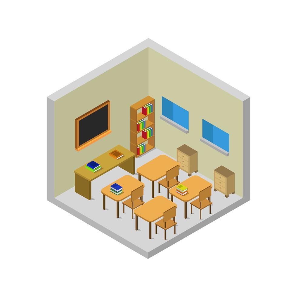 isometrisches Schulzimmer auf weißem Hintergrund vektor