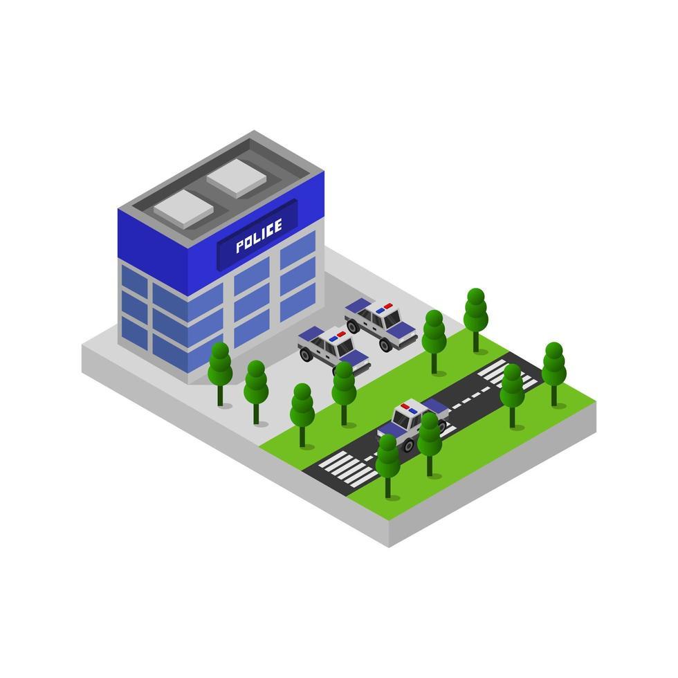isometrische Polizeistation auf weißem Hintergrund vektor
