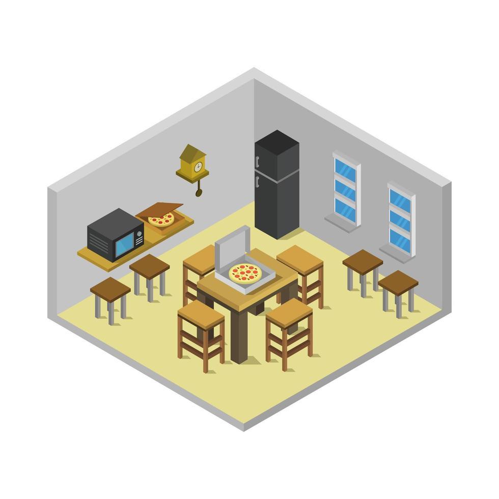isometrisches Küchenzimmer auf weißem Hintergrund vektor