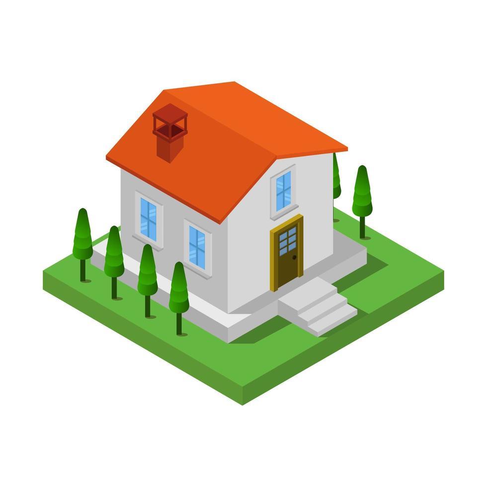 isometrisches Haus auf weißem Hintergrund vektor