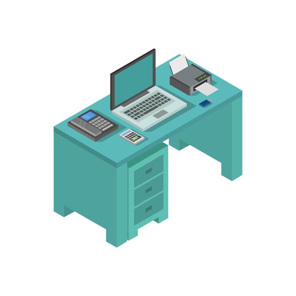 blauer isometrischer Schreibtisch vektor