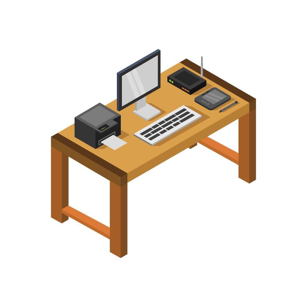 isometrischer brauner Schreibtisch auf weißem Hintergrund vektor