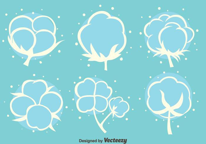 Bomull Blomningar Vita Ikoner Vektor