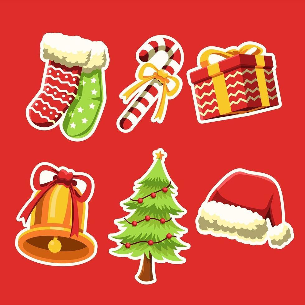wunderbare Dinge auf Weihnachten Aufkleber Set vektor