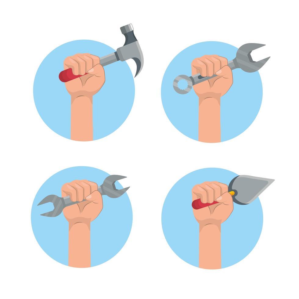 Satz Hände, die Werkzeuge halten vektor