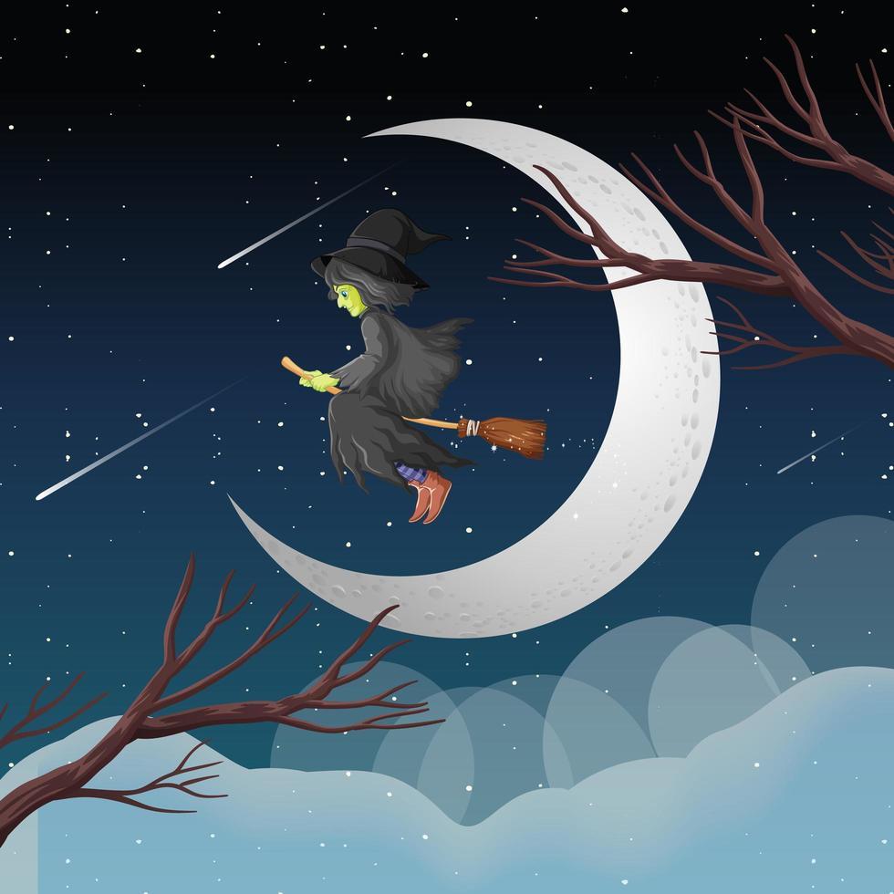 Hexe reitet nachts auf einem Besen vektor