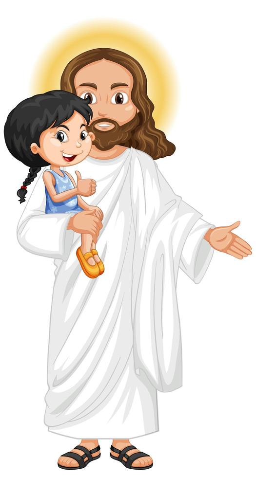 Jesus trägt ein kleines Mädchen vektor