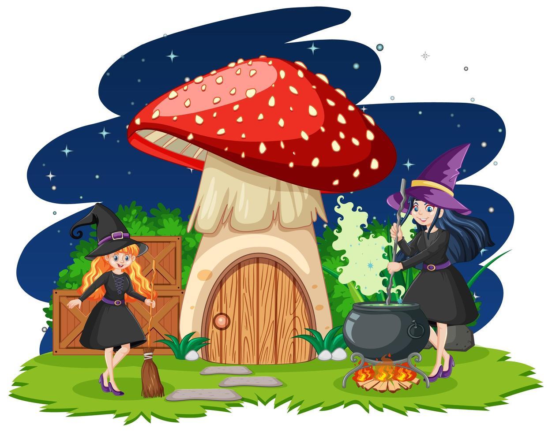 junge Hexen mit Pilzhaus vektor