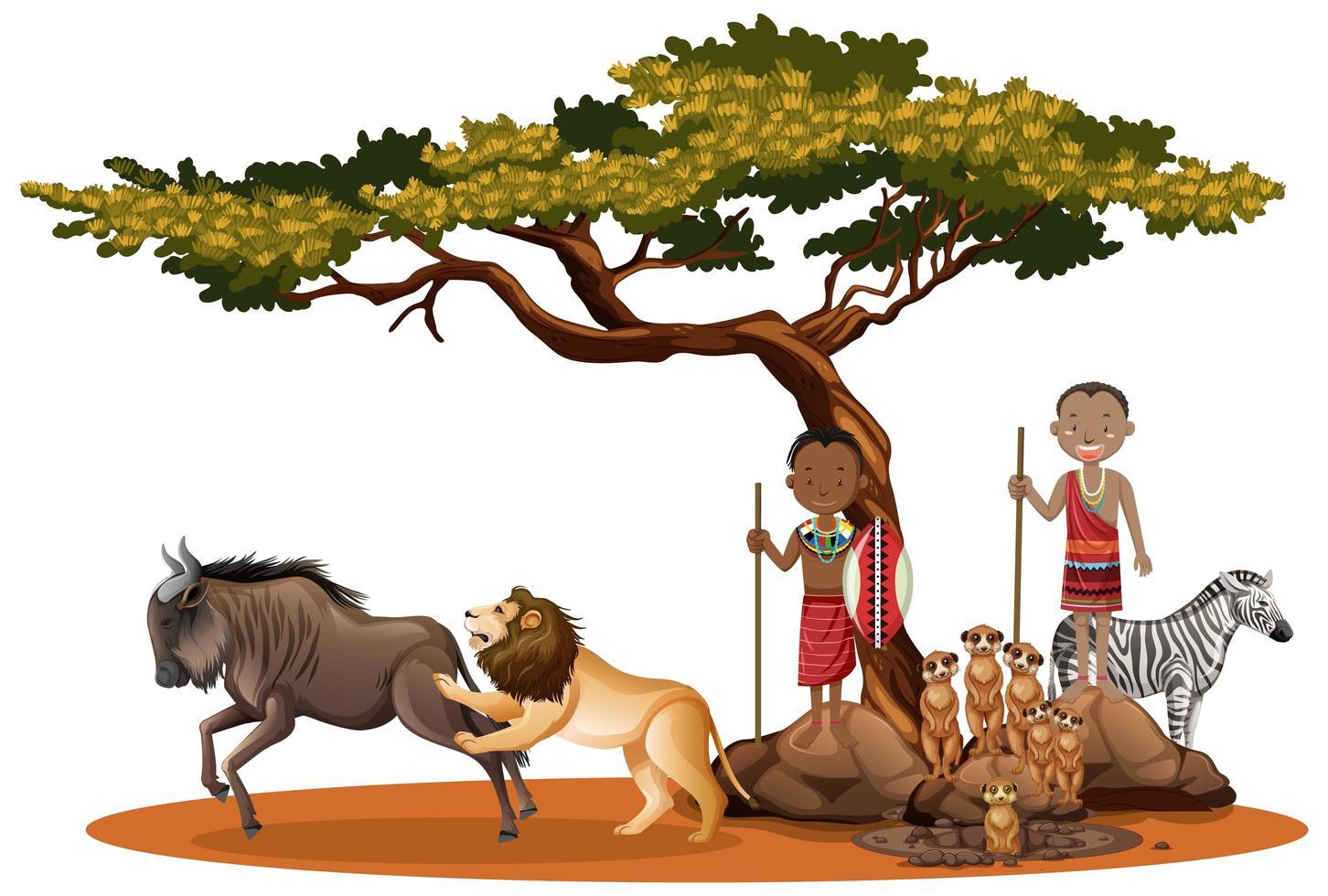 afrikanische Ureinwohner mit wilden Tieren im Freien vektor