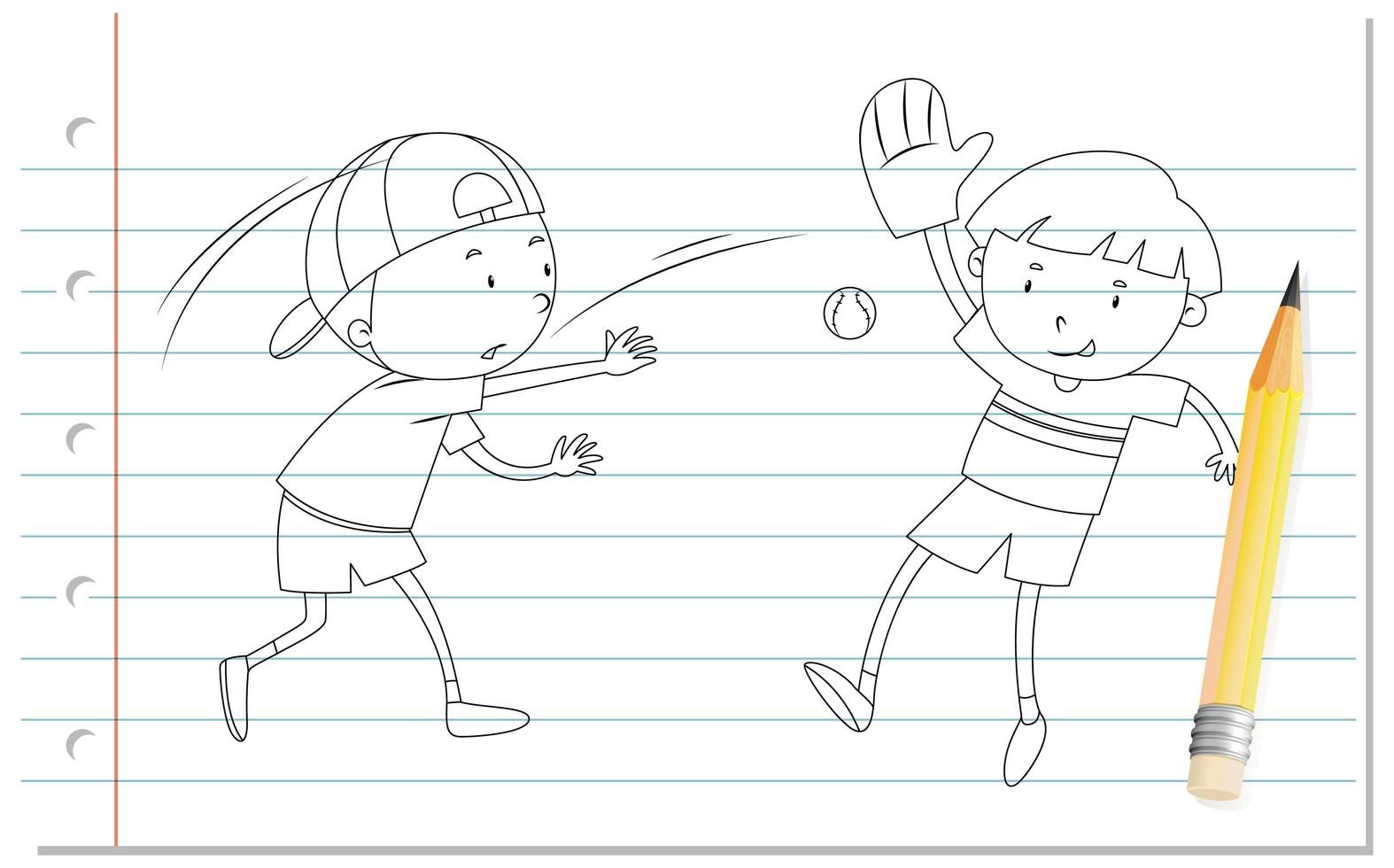 Gekritzel von Jungen, die Baseball spielen vektor