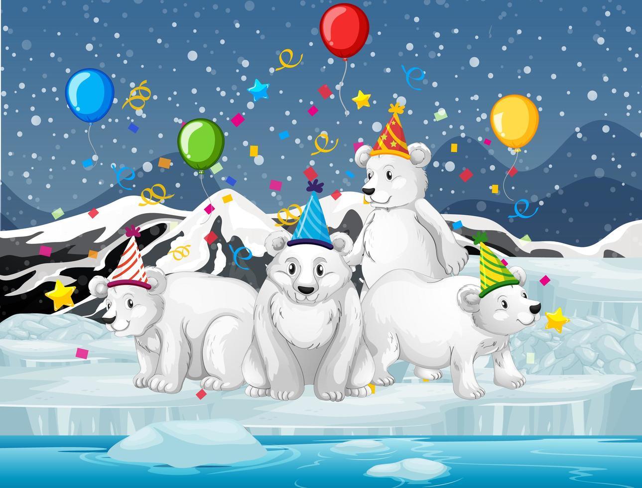 Eisbärengruppe im Freien feiern vektor