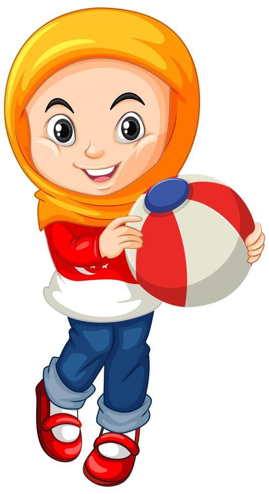 muslimisches Mädchen, das einen Ball hält vektor