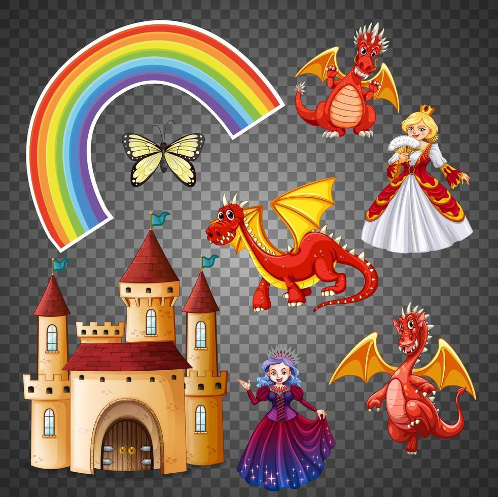 Magie und Fantasie Charakter und Element-Set vektor