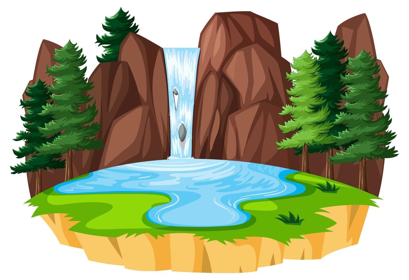 Wasserfall Landschaftsgestaltung vektor