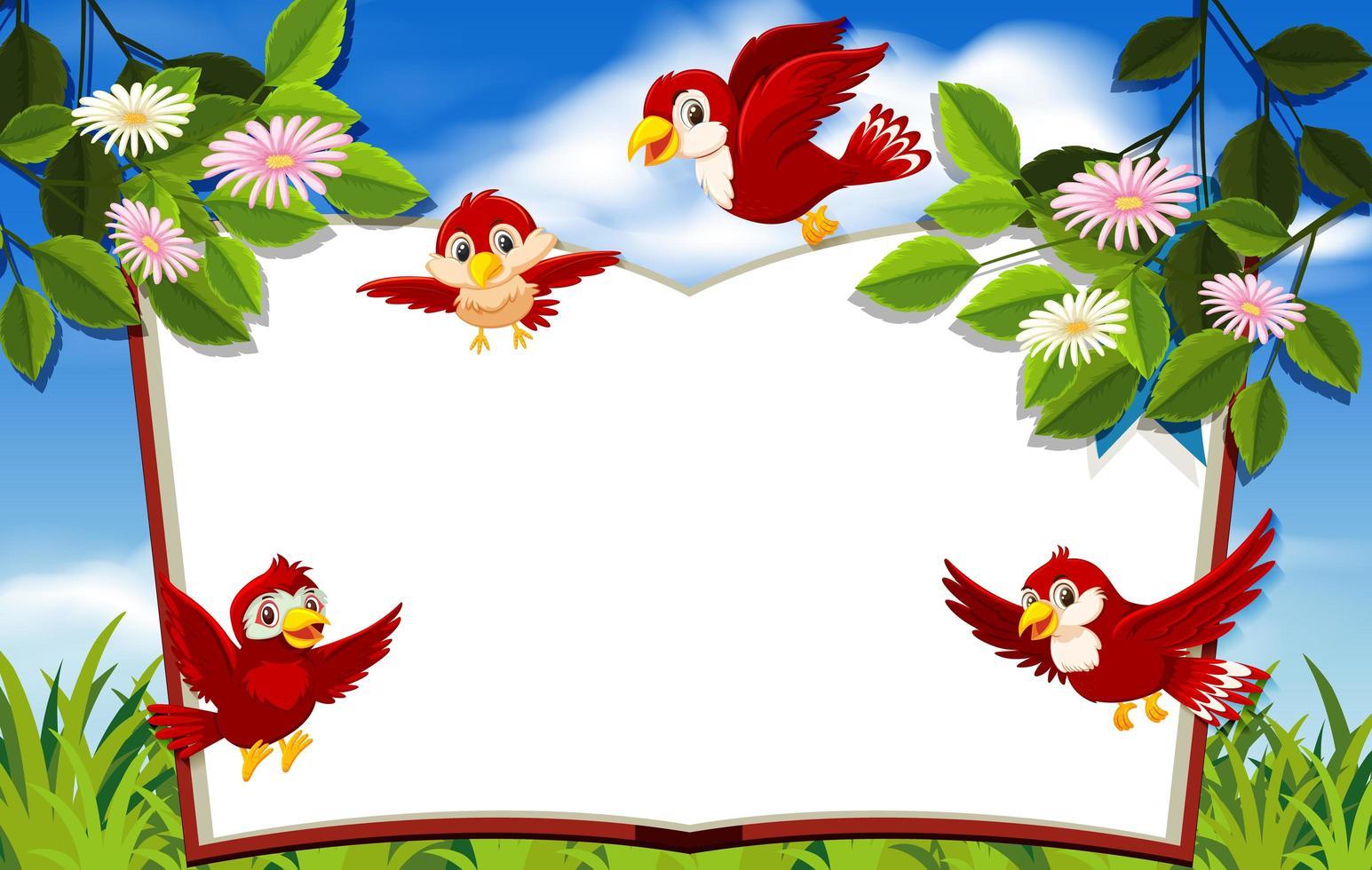 glückliche Vögel mit leerer Fahnenschablone vektor