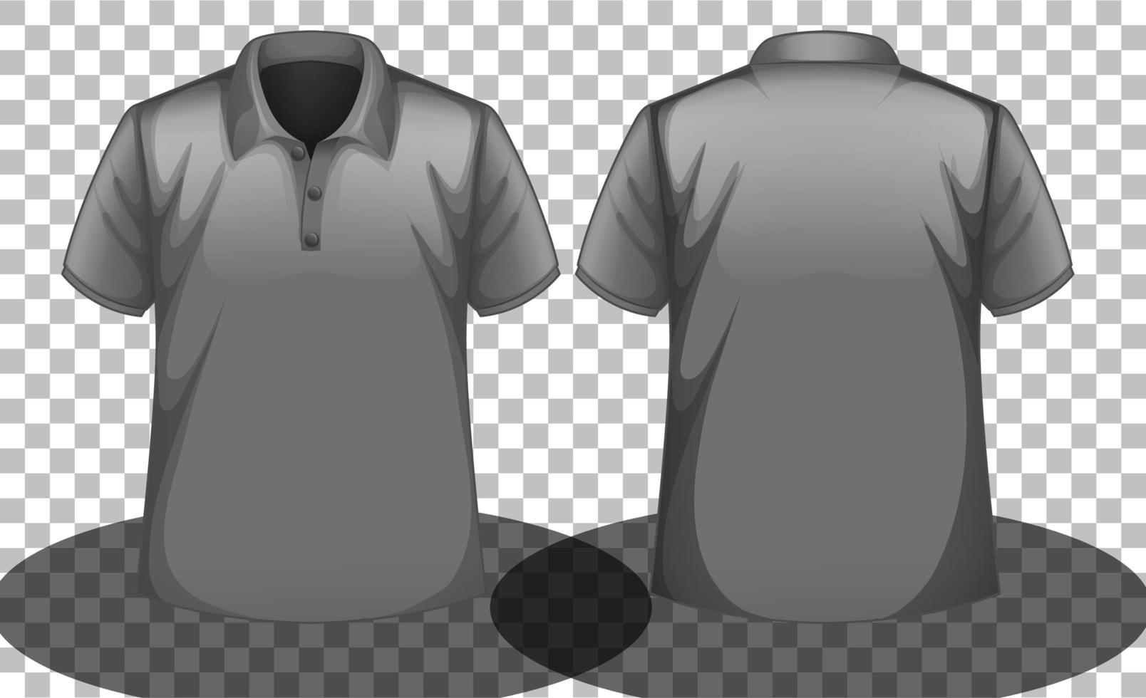 graues Poloshirt-Modell mit Vorder- und Rückseite vektor