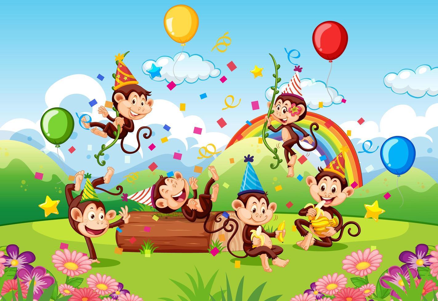 Affen, die eine Geburtstagsfeier im Freien haben vektor