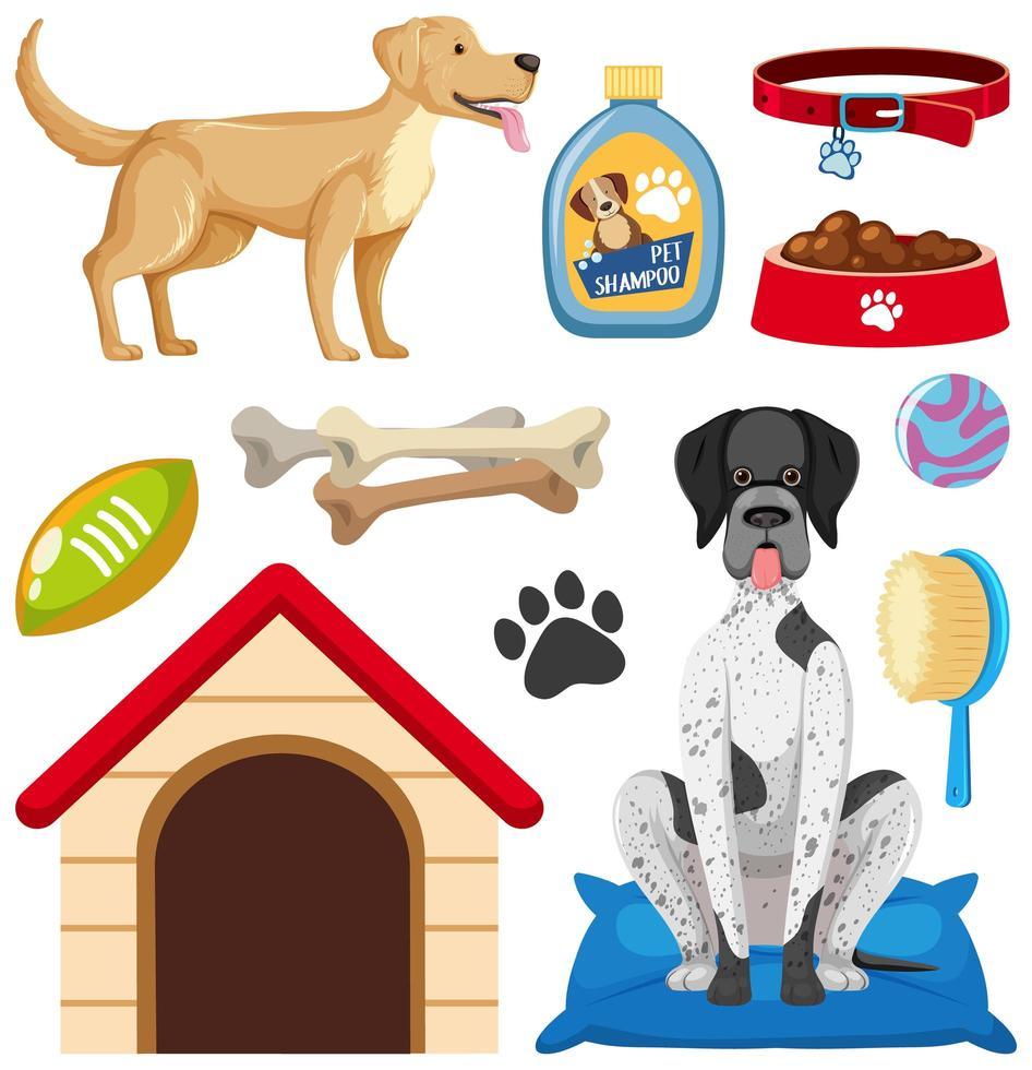 Hundezubehör und Tierhandlung Elemente gesetzt vektor