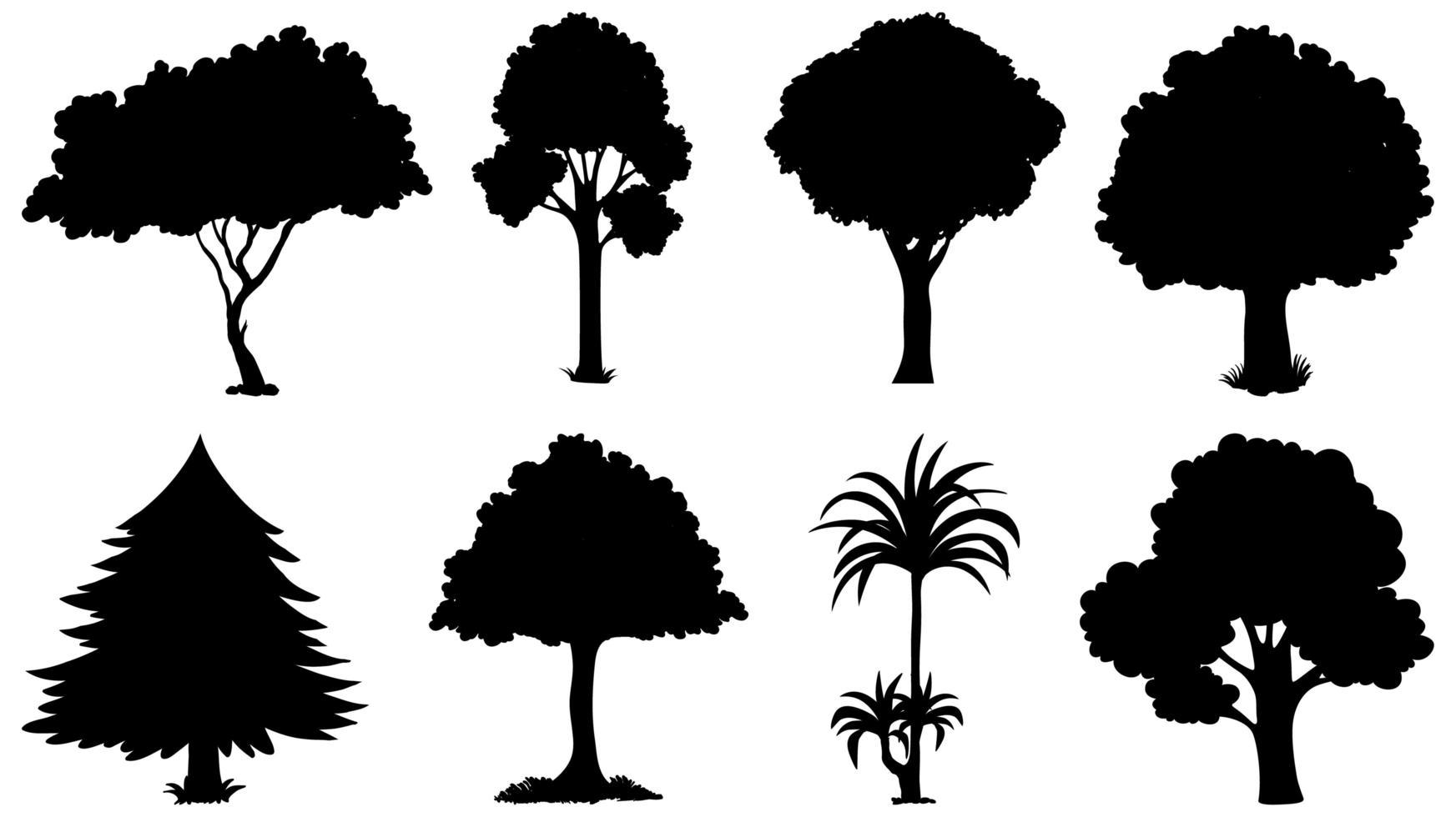 Satz Baum Silhouetten vektor